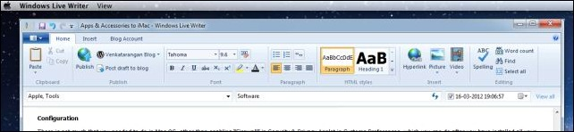 Windows Live writer in Mac OS X using Parallels