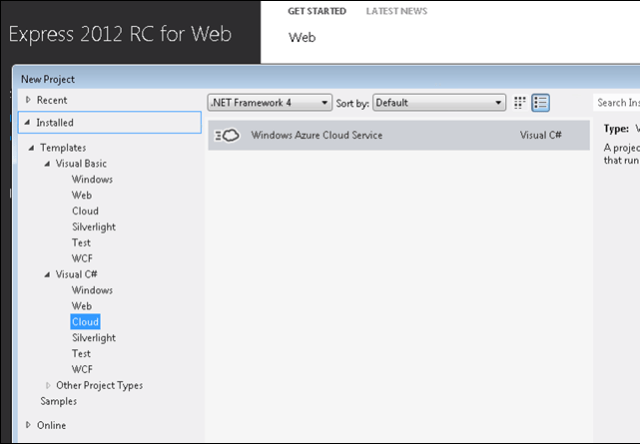 Visual Studio 2012 RC for Web with Windows Azure template