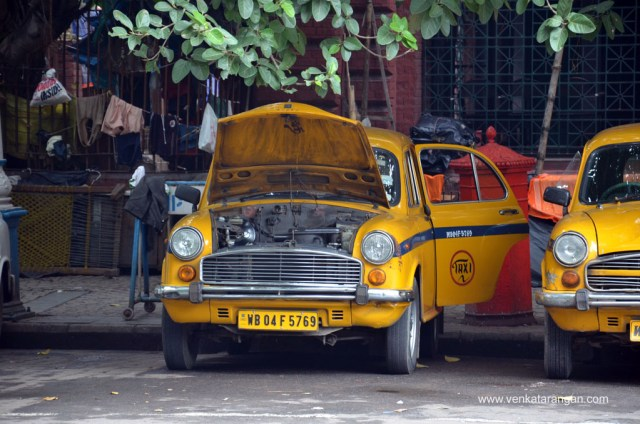 Iconic Yellow taxi of Kolkata being serviced