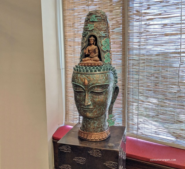 Dasavaratharam - 9. Lord Buddha is represented by a 7 feet 6 inches sculpture in the building adjacent to the main mall near The Hive. Lord Buddha is considered to be a part of Dasavartharam by many works including those of Jayadeva and Anamaacharya