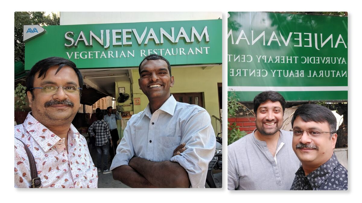 With my friends on various occasions at the Sanjeevanam Restaurant, Chennai