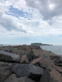 The breakwater starts at the marina. On the other side you can see Pellet Island.