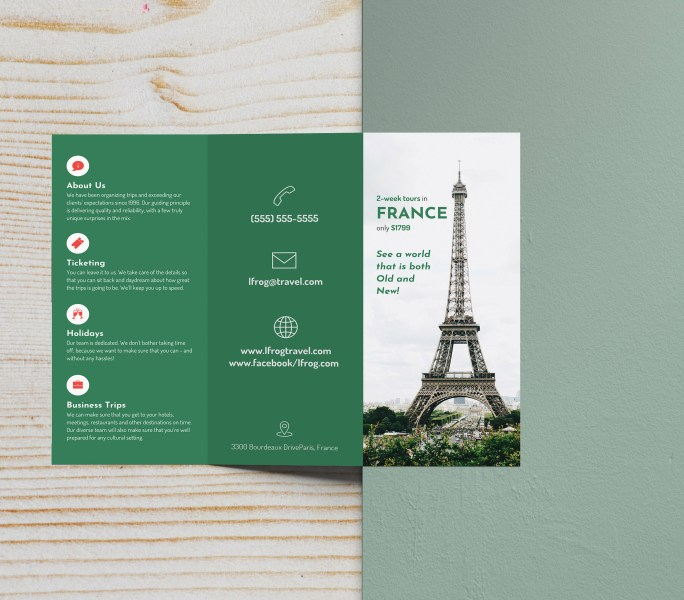 Green Photo Centric Trifold Travel Brochure Idea   Venngage Brochure     Green Photo Centric Tri Fold Travel Brochure Idea