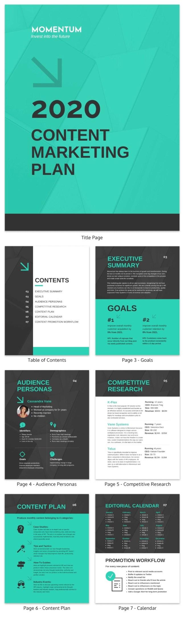 Modern Green Content Marketing Plan Template