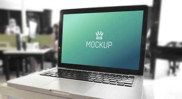 MacBook and iPhone in Office Mockups