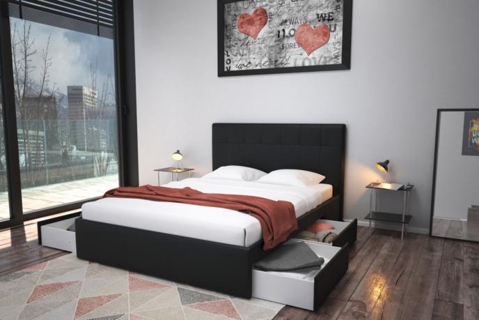 lit avec rangement 140x190 cm nils noir