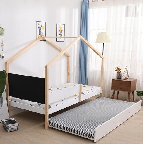 lit cabane 2x90x190 cm woody en bois