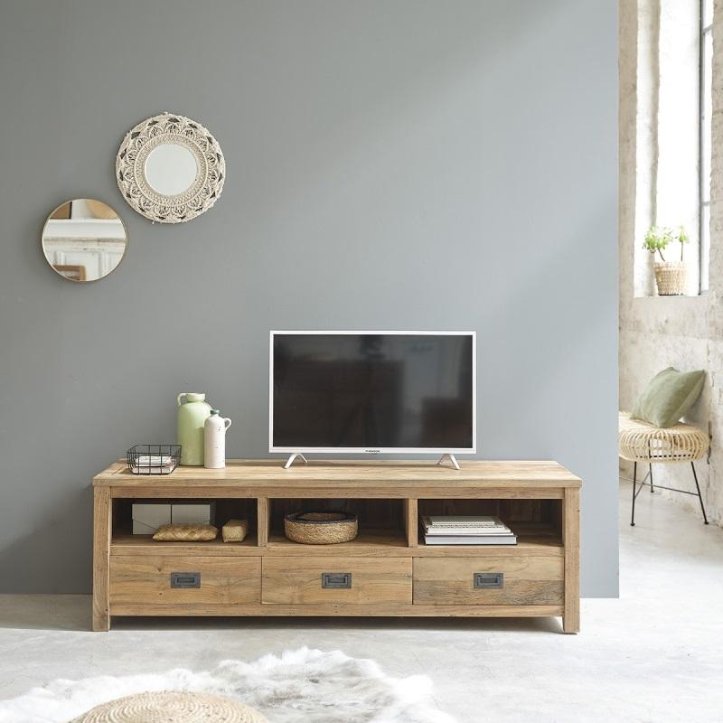meuble tv 160 cargo en bois de teck