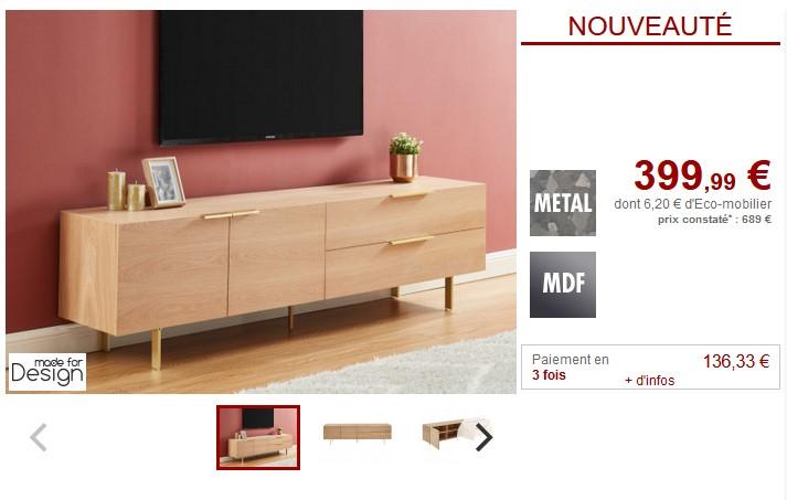 meuble tv valola 2 portes et 2 tiroirs