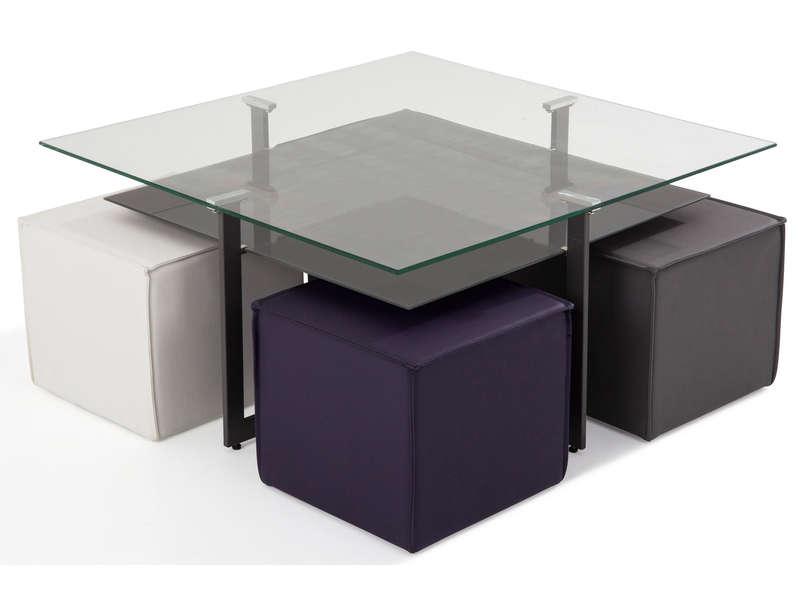 4 poufs bolero table basse conforama