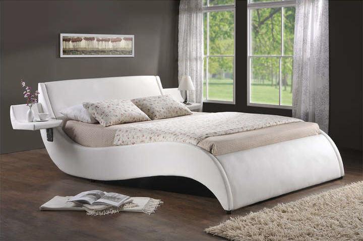 Lit 160x200 Cm WAVE Coloris Blanc Promo Lit Conforama