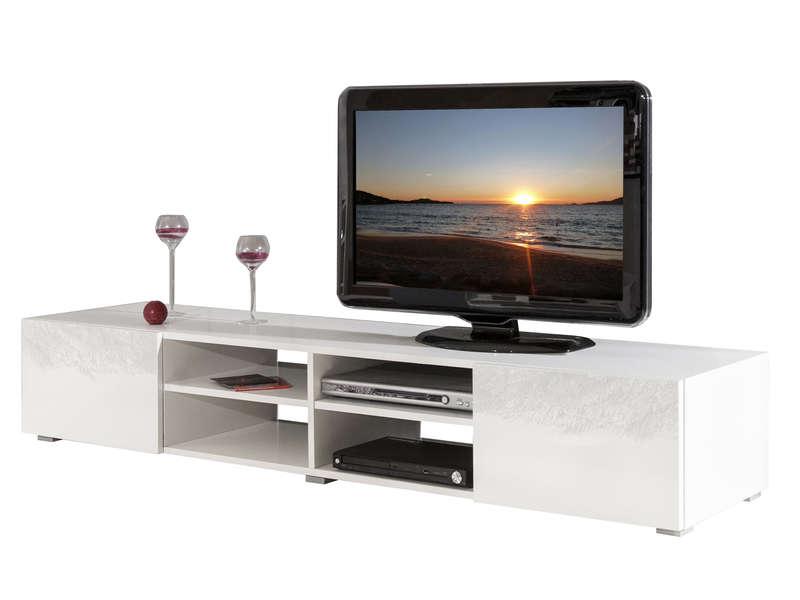meuble tv rayan coloris blanc laque