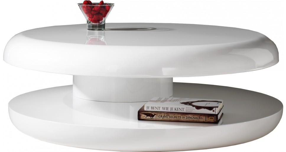 table basse design ronde laque blanche