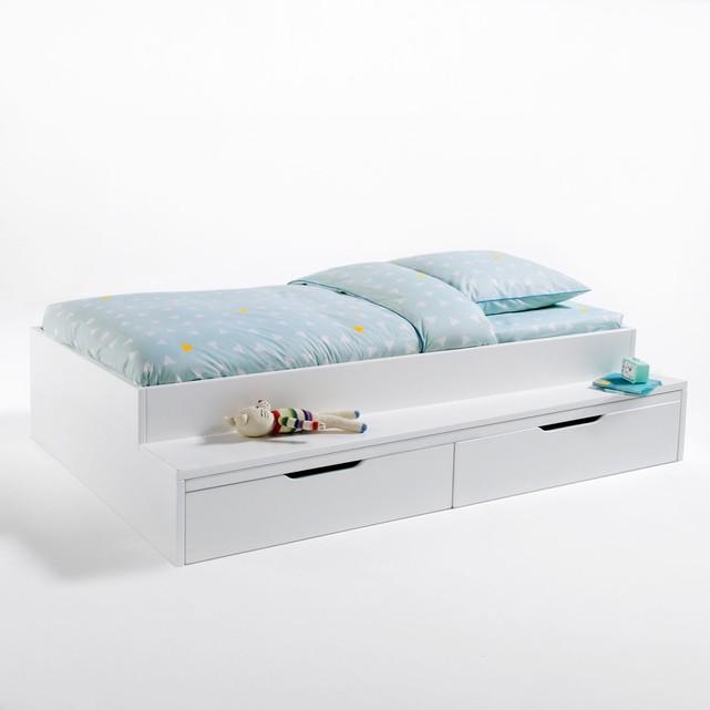 lit plateforme avec banc et tiroirs