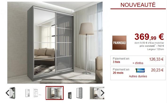 armoire avec miroir yelena 2 portes