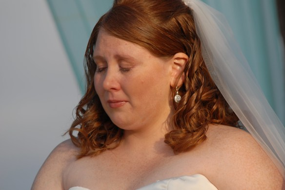 overweight bride walks down the aisle