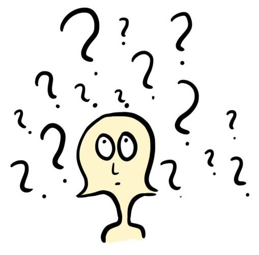 cartoon of a person asking questions faq page