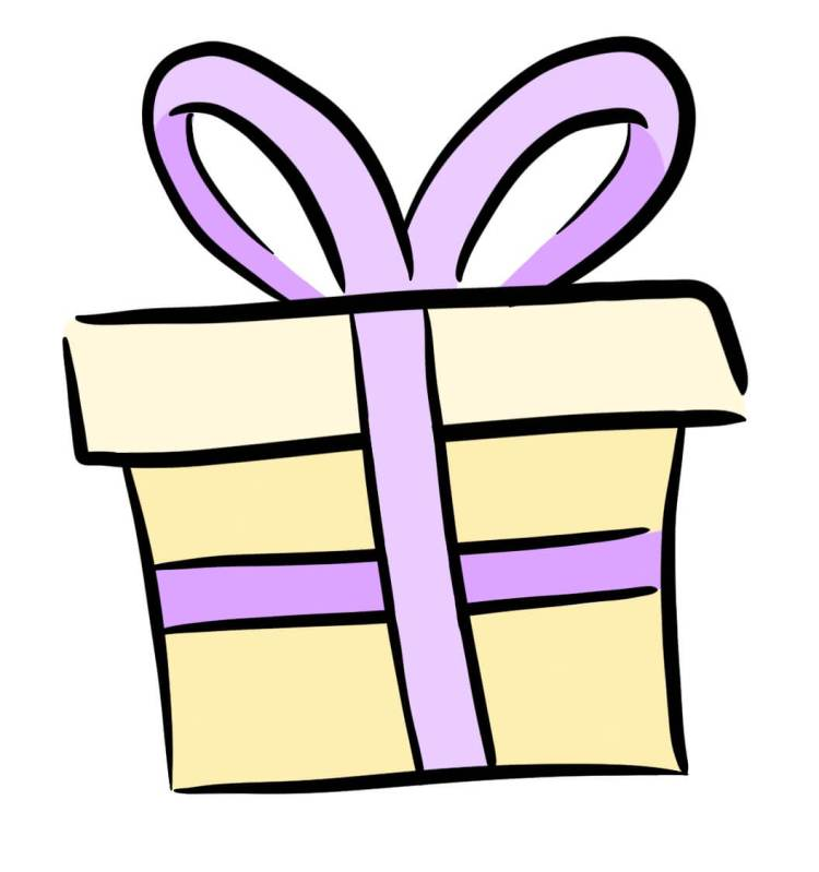 Cartoon of birthday present representing giving your customers free information.