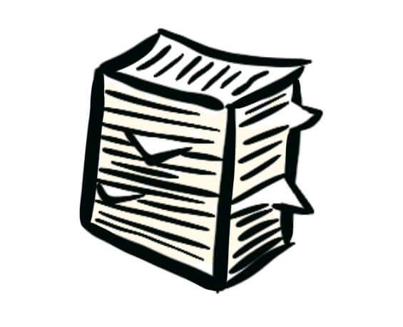 Cartoon of a stack of papers representing blogging in bulk