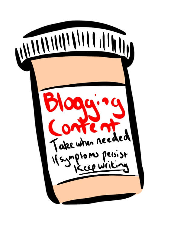 Cartoon of blogging pills representing blogging as needed