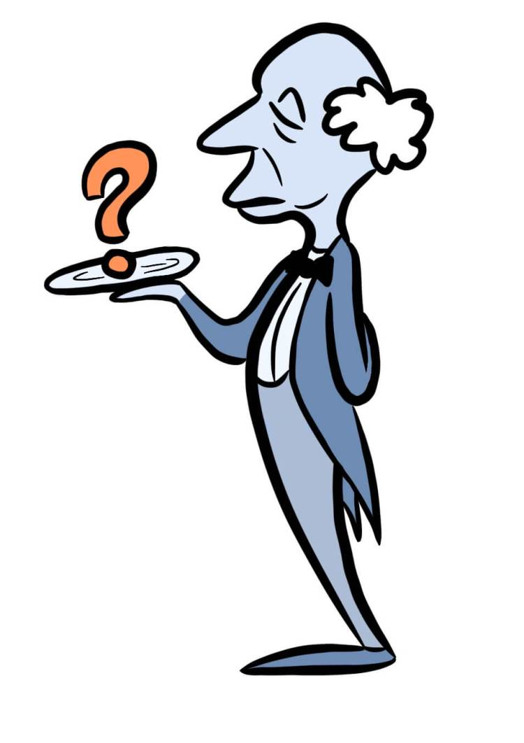 Cartoon of butler. What are you serving your target market?