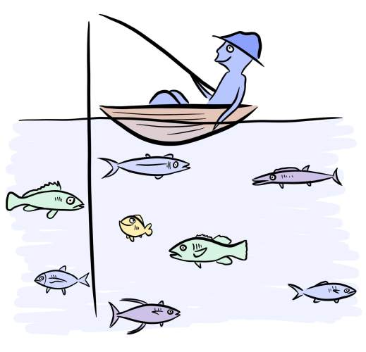 Cartoon of person fishing for target market