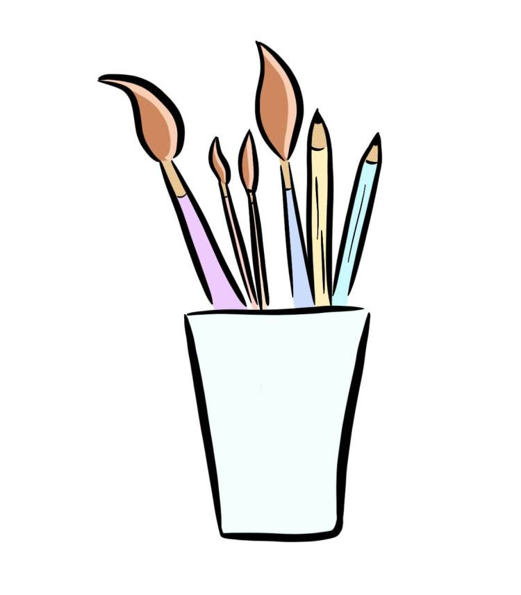 Cartoon Drawing of pencils and paintbrushes in a cup representing website illustrations