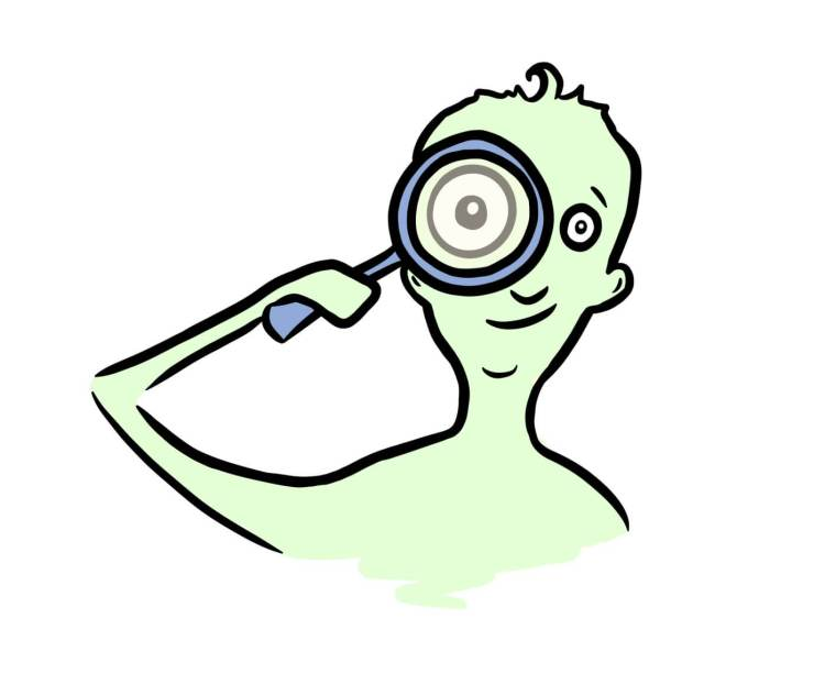 Cartoon of man with a magnifying glass