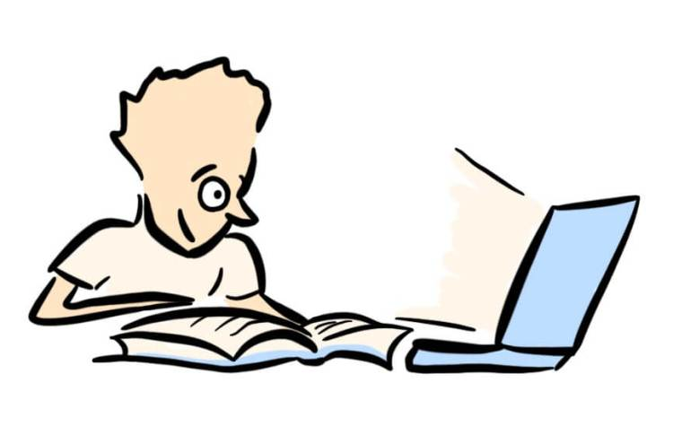 Cartoon of copywriter doing some research