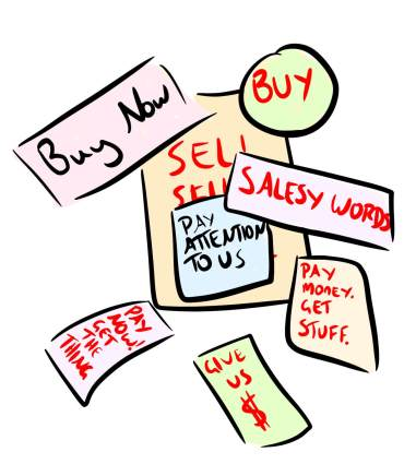 Cartoon of salesy content writing and advertisements