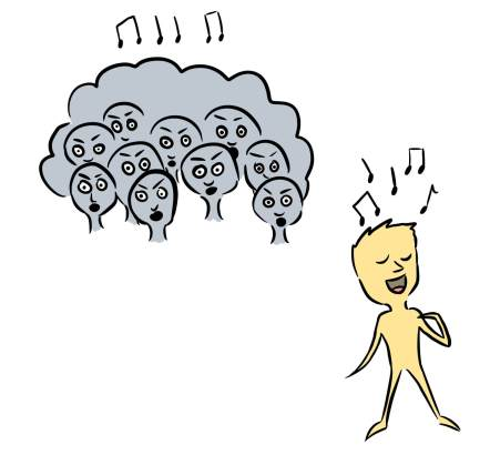 cartoon of person standing out from the crowd by developing a use