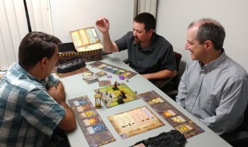 James, Ryan, and Bob playing Mechs Vs. Minions