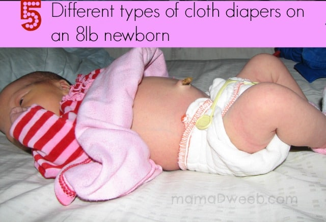 5 types of cloth diapers on a newborn
