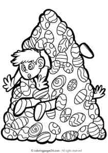 Funny easter egg coloring page - stuck in egg pile