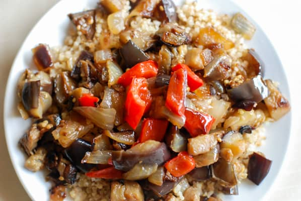 Clean eating Veggies over toasted quinoa