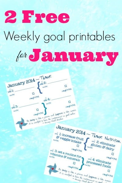 Weekly themed printable goal sheets for January