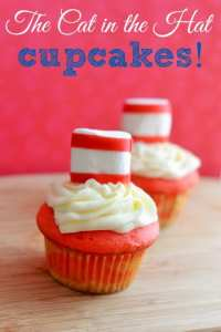 Dr. Seuss Birthday Cupcakes – Cat in the Hat