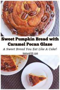 Sweet pumpkin bread with caramel pecan glaze recipe – from scratch