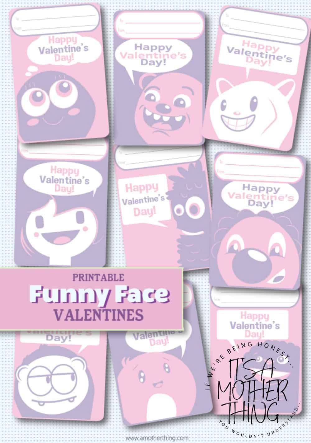 Funny Faces Printable Valentines