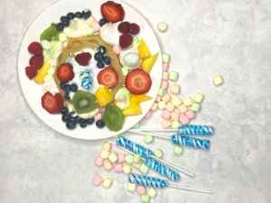 Fruit Explosion – Unicorn Waffles Breakfast Idea