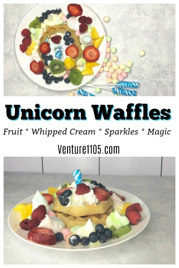 Unicorn Waffles Breakfast Idea