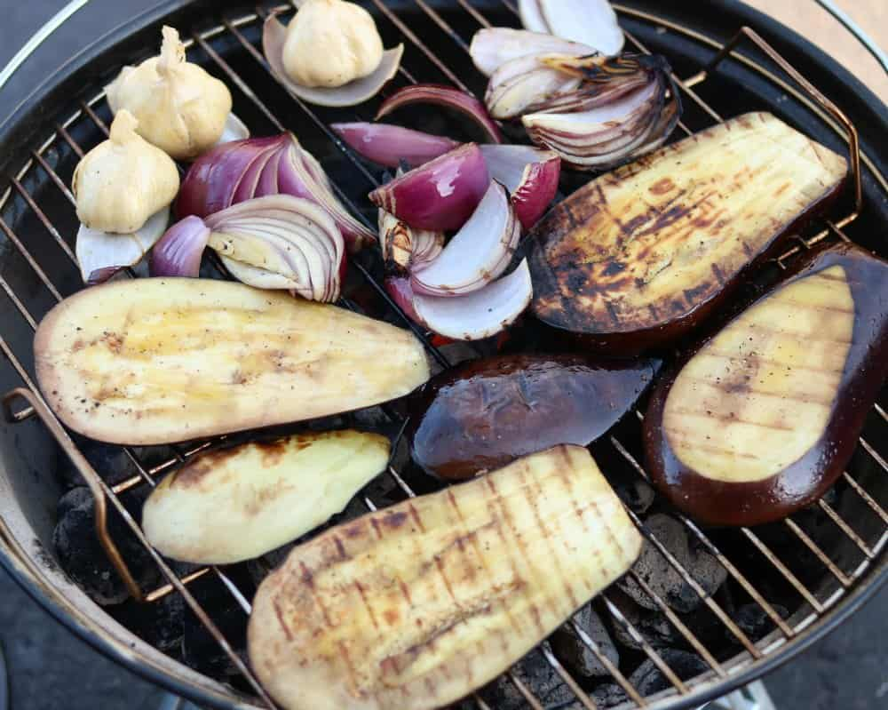 Grilled Eggplant Onions and Garlic