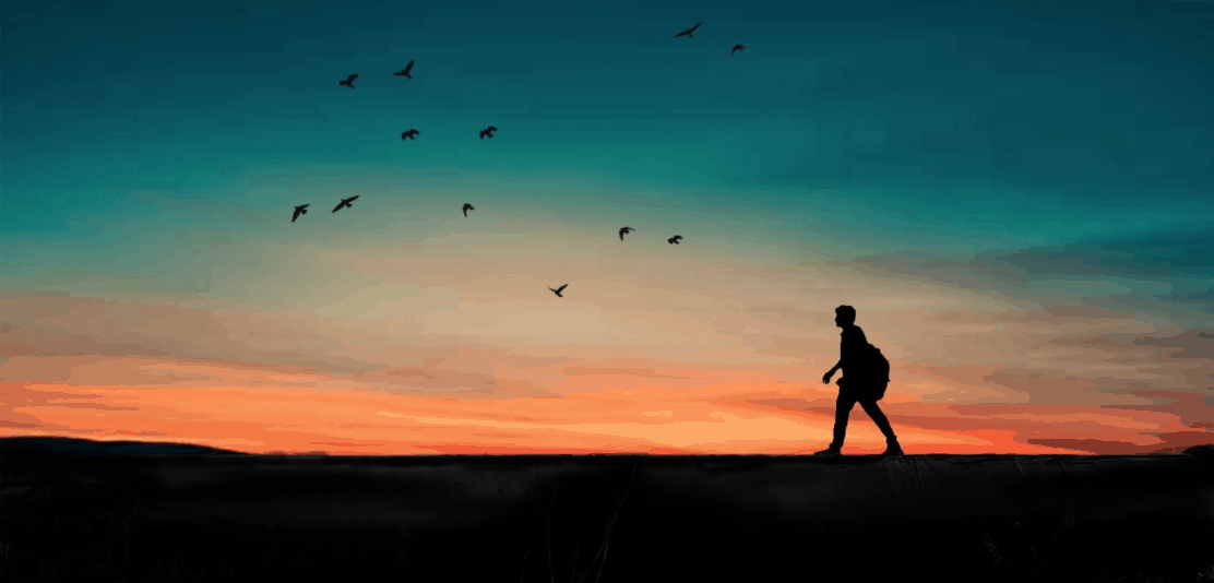 Walking At Sunset