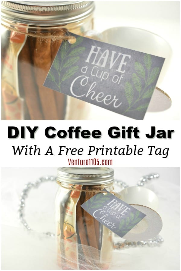 DIY Coffee Gift Jar Tutorial with Free Printable Gift Tag