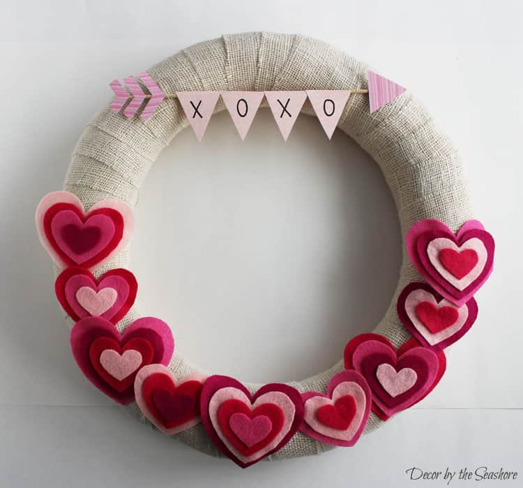 Valentine's Day Burlap Wreath with Hearts