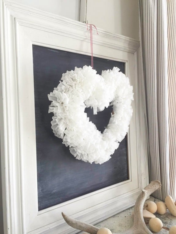 A heart wreath made out of coffee filters