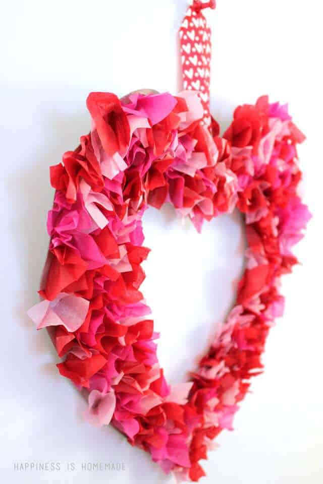 Heart Wreath made with red tissue paper