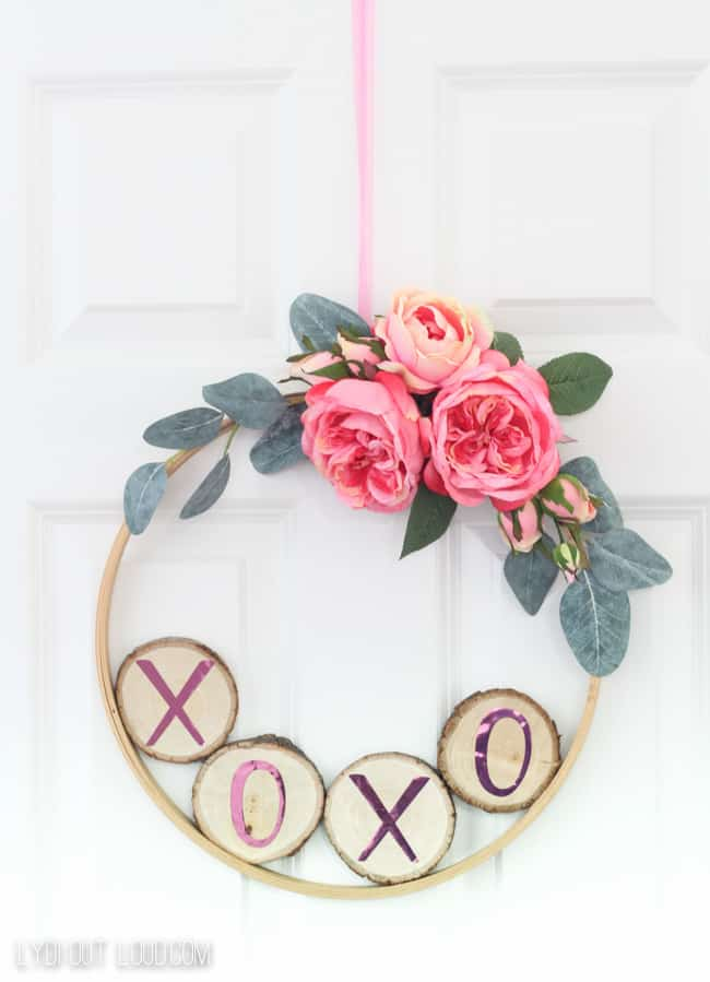 Valentine's Day Wreath made out of a wood slice