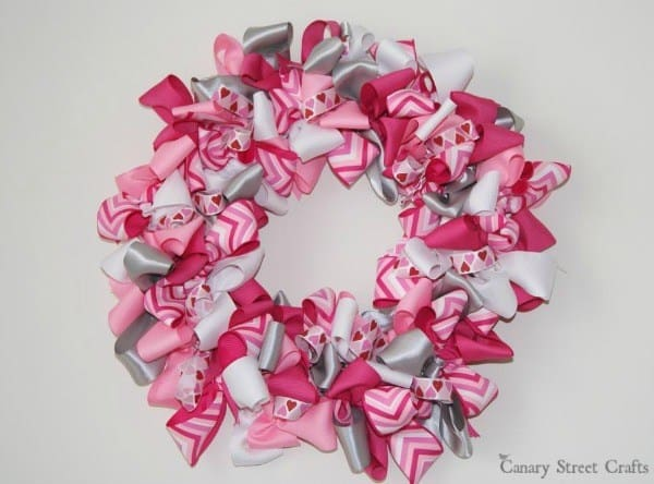 Valentine's Day Wreath made with pink and white ribbons