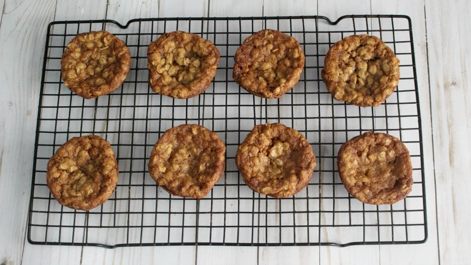 Let the oatmeal cookies cool on a rack